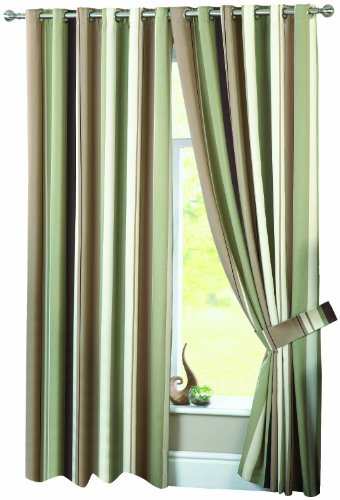 Dreams 'n' Drapes Whitworth Eyelet Lined Curtains, Green, 90x90 inch