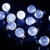 M&T Tech M&T Tech 20 LED Crystal Ball Solar Powered Globe String Fairy Lights for Outdoor Garden Patio Party Porch ...