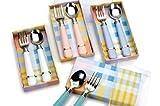 Golden Rabbit Child Fork & Spoon Set, Pink