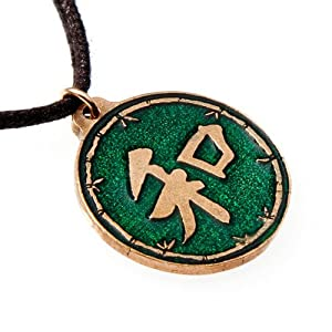 Large Heiwa Green Enamel Pendant Necklace on Adjustable Natural Fiber Cord