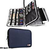 BUBM Double Layer Travel Gear Organizer / Electronics Accessories Bag / Phone Charger Case, Fit for iPad/iPad Mini/iPad Air (Large, Dark Blue)