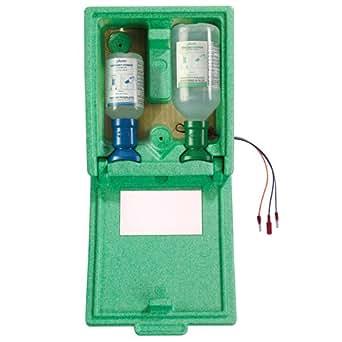 Bel-Art Scienceware 248805053 Plum Heated Eyewash Station with 200mL pH-Neutralizing Solution and 500mL 0.9% Saline Solution
