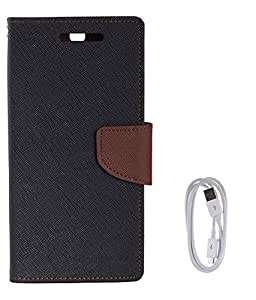 Avzax Flip Case Cover For Samsung Galaxy Trend GT-S7392 (Black) + Data Cable