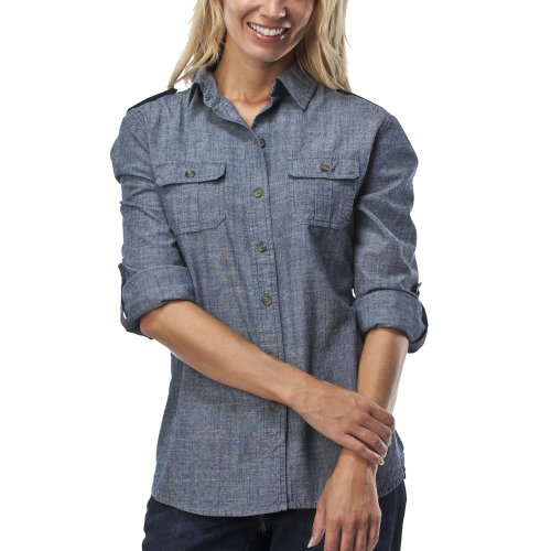 Women low prices merona women 39 s heritage utility for Blue chambray shirt women s