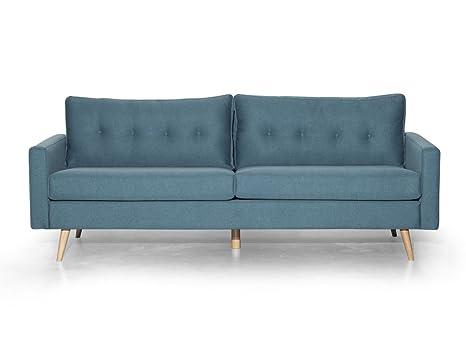 Canapé SCANDI 3 places en tissu bleu clair