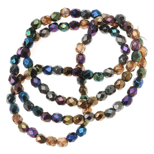 Beadaholique Czech Fire Polish 100-Piece Round Glass Beads, 4mm, Heavy Metal Mix (Fire Polished Beads compare prices)