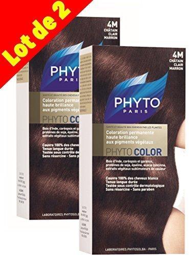 Phyto Color Colorazione Cura permanente ad alta brillantezza alle pigmenti vegetali-Colore: N ° 4m: Castano Chiaro Marrone-Set di 2