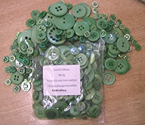 KosiKrafts 1 Bag Of 100g Art & Craft GREEN Sewing BUTTONS. Various Sizes from !!!! Click Here To View Our Full Range Of Art And Craft Products !!!!