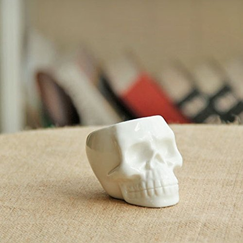New Ceramic Flower Pot White Skull DIY Small Planter Succulent Plants Potted Ashtray Desktop Ornaments Home Office Décor
