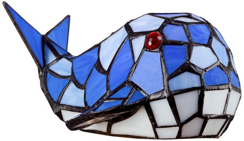 Blue Whale Tiffany Style Glass Led Accent Lamp front-1048294