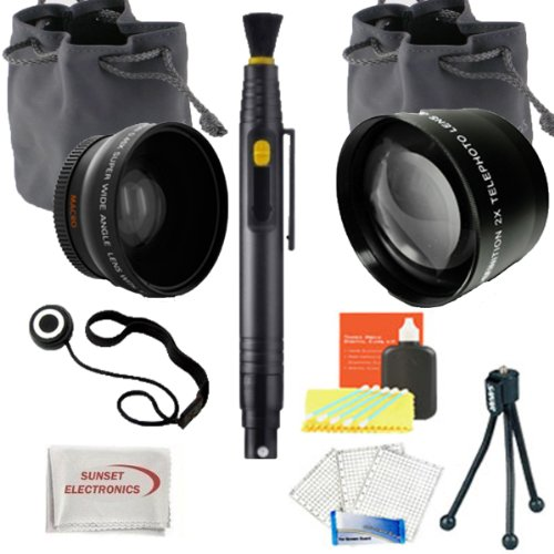 Sse Wide Angle & Telephoto Lens Kit For Sony Alpha Nex Series (Nex-3 Nex-5N Nex-7 Nex-F3 / 18-55Mm And 55-210Mm Lenses). Includes: 0.45X Super Wide Angle (With Macro) High Definition Lens, 2X Telephoto High Definition Lens, Bonus Lens Cap Keeper, Lens Cle