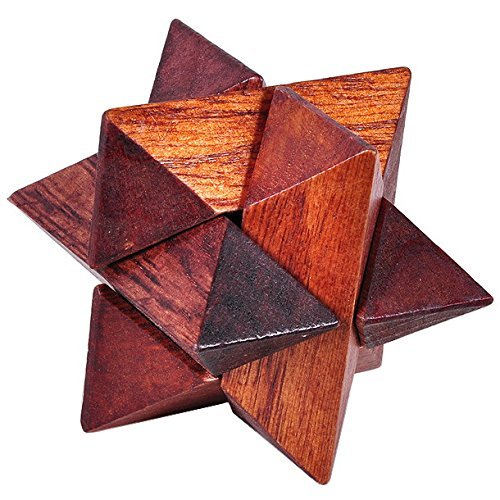 KINGOU Wooden Primary Color Octagon Lock Logic Puzzle Burr Puzzles Brain Teaser Intellectual Assembly Toy