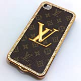 Designer Iphone 4/4s Brown Monogram Bling Hard Leather Back Case With Gold Logo