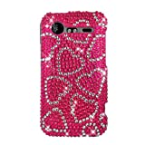Hot Pink Hearts With Full Rhinestones Hard Protector Case Cover For HTC Droid Incredible 2 ADR6350
