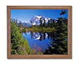 Mount Shukshon Lake Snow Trees Landscape Home Decor Wall Picture Oak Framed Art Print