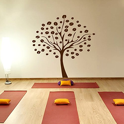 Wall Vinyl Decal Sticker Art Design Coffee Tree With Coffee Beans Room Nice Picture Decor Hall Wall Chu536