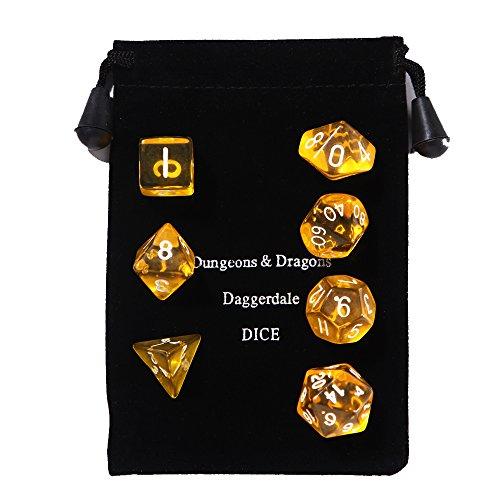 Ent-Mart Trpg Game Rpg Polyhedral Standard Size 7-Die Dice Set Translucent Yellow (D4, D6, D8, D10, D12, D20 & D00) With Black Dice Bag