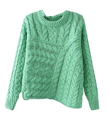 BELLA-Donna Maglione Maniche Lunghe Maglioni Irregolari Puro Colore (Verde)