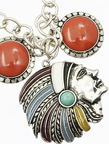Coral Red Charm Native American Chief Necklace And Earring Set Fashion Jewelry And Accessory Beautiful Charms
