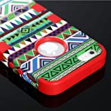 "myLife (TM) Bright Red – Colorful Tribal Print Series (Neo Hypergrip Flex Gel) 3 Piece Case for iPhone 5/5S (5G) 5th Generation iTouch Smartphone by Apple (External 2 Piece Fitted On Hard Rubberized Plates + Internal Soft Silicone Easy Grip Bumper Gel + Lifetime Warranty + Sealed Inside myLife Authorized Packaging) ""Attention: This case comes grip easy smooth silicone that slides in to your pocket easily yet won't slip out of your hand"""