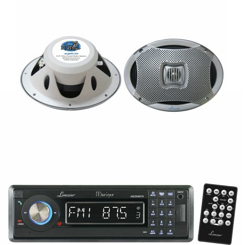 Lanzar Marine Receiver And Speaker System Package For Your Boat, Pool, Deck, Patio, Etc. - Aqcd60Btb Am/Fm-Mpx In-Dash Marine Detachable Face Radio Cd/Sd/Mmc/Usb Player & Bluetooth Wireless Technology - Aq69Cxs 500 Watts 6''X9'' 2-Way Marine Speakers (Sil