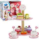 Dessert And Tea Tower 15 Pc Toy Serving Set By Svan - Made From Real Wood And Includes Cups, Tower And Miniature...