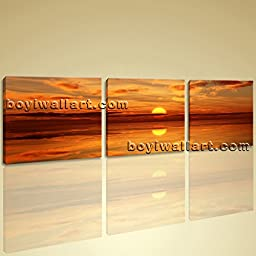 Extra Large Wall Art Print On Canvas Decor Picture HD Beach Landscape Sunset 3 Panels Wall Art Inner Framed Ready To Hang by Bo Yi Gallery 62\
