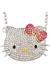 Wrapables Large Kitty Pendant Necklace With Pink Bow