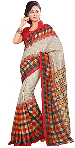 Samskruti Sarees Women Exclusive Printed Art Silk with Check Border (R12032)
