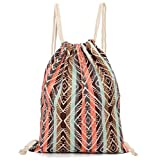 Aeoss Canvas Aztec Geometric Tribal Print Bohemian Drawstring Gym College School Bag Backpack Small Handbag (Brown and Pink)