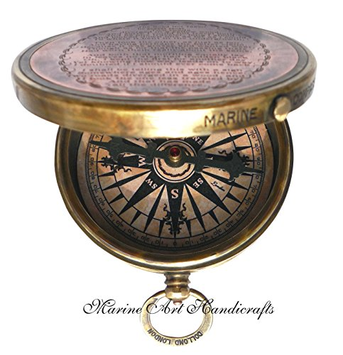 """""""Robert Frost Poem"""" Engraved Brass Compass with Embossed Needle & with Leather Case. C-3241"""
