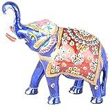 Rajgharana Handicrafts Multi Color Metal Meenakari Delightful Elephant - (13 Cm X 16 Cm)