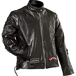 Diamond PlateTM Ladies Rock Design Genuine Buffalo Leather Motorcycle Jacket Size-Medium
