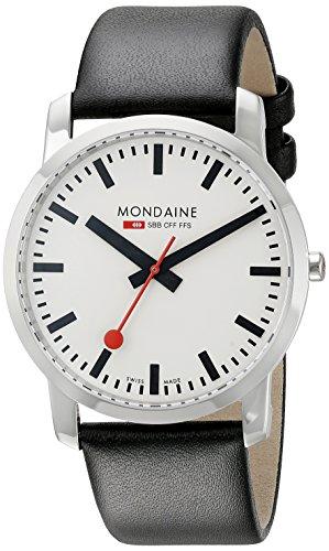 Mondaine Simply A638.30350.11SBB - Reloj analógico de cuarzo para hombre, correa de cuero color negro