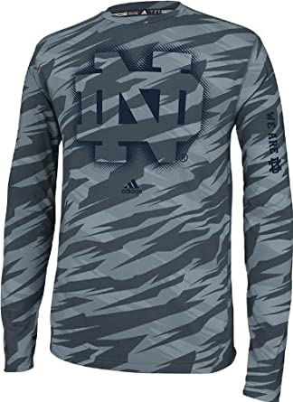 Notre Dame Fighting Irish Sideline Elude Long Sleeve Fitted Performance Tee Grey by adidas