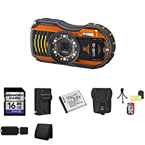 Pentax Optio WG-3 16MP Waterproof Digital Camera (Orange) + 16GB SDHC Memory Card (Class 10) + Extra LI-50B Battery + External Rapid Charger + Carrying Case + Mini Tripod Kit + USB SDHC Reader + Memory Wallet