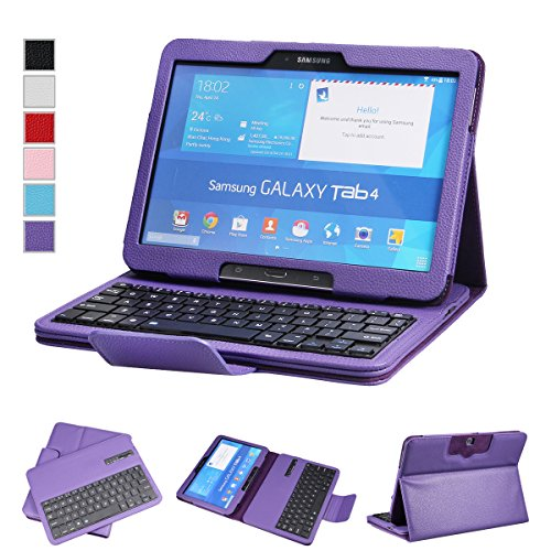"""Newstyle Removable Wireless Bluetooth Keyboard Abs Plastic Laptop Stylish Keys And Protective Case For Samsung Galaxy Tab 3 10.1"""" 10.1 Inch Tablet P5200 & Galaxy Tab 4 10.1 Inch Tablet Sm-T530 T531 T535 (Purple)"""
