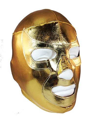 Ramses Jr Lycra Youth Lucha Libre Wrestling Mask - Kids Costume Wear - Gold front-335379