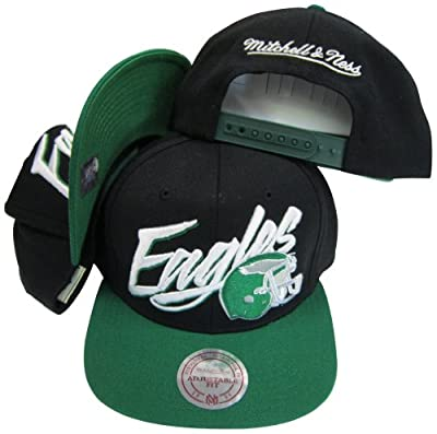 Philadelphia Eagles Diagonal Script Black/Green Two Tone Plastic Snapback Adjustable Plastic Snap Back Hat / Cap