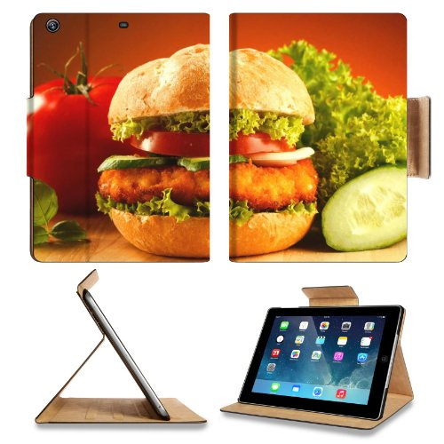 Fast Food Hamburger Tomato Cucumber Apple Ipad Air Retina Display 5Th Flip Case Stand Smart Magnetic Cover Open Ports Customized Made To Order Support Ready Premium Deluxe Pu Leather 9 7/16 Inch (240Mm) X 7 5/16 Inch (185Mm) X 5/8 Inch (17Mm) Liil Ipad Pr front-933608