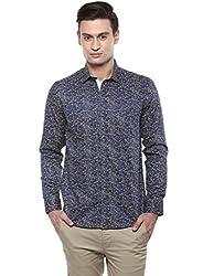 GIVO Navy Floral Print Casual Shirt