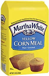 Martha White Plain Yellow Cornmeal, 5 Pound (Pack of 8)