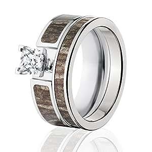 Amazon Mossy Oak Camo Bridal Set Camo Wedding Rings Bottomland Camo Rings Jewelry