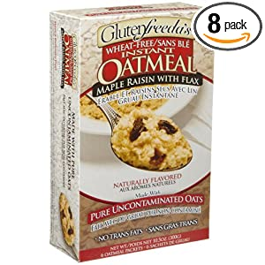 Glutenfreeda's Instant Oatmeal, Maple Raisin, 6-Count Packets (Pack of 8)