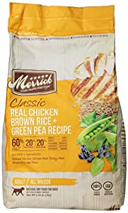 Merrick Classic 5-Pound Adult Real Chicken, Brown Rice and Green Pea Dog Food, 1 Bag