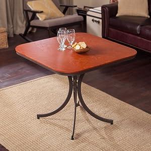 Meco Meco Innobella Destiny 36 in. Square Wood Folding Table - Mission Rosso, Brown, Oak Veneer, 36 Inches
