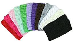 Hairbows Unlimited Crochet Baby Headbands Stretchy Soft Variety Pack Assortments (12 8\