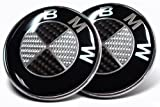 2X 82mm Real Carbon Fiber BMW Black/Silver Hood/Trunk Emblems Badges Replacement