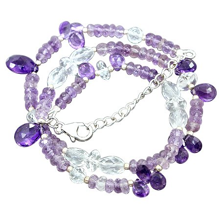 925 Sterling Silver Artisan 20.5 grms Amethyst White Topaz Gemstone Beads Strand Necklace Size 18 Inches