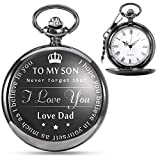 "Vintage Pocket Watch ""To My Son-Love Dad"" Classic Unique Gift for Parents Gift"